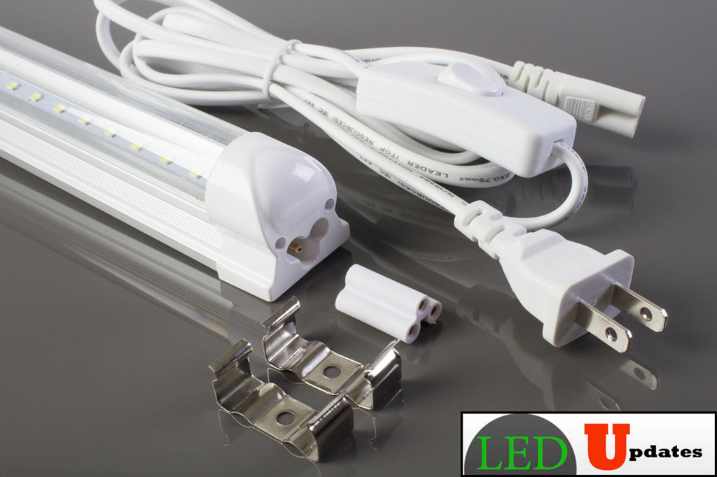 2pcs 4ft 20watt Clear integrated power driver LED Tube include 6ft power cable with ON/OFF switch