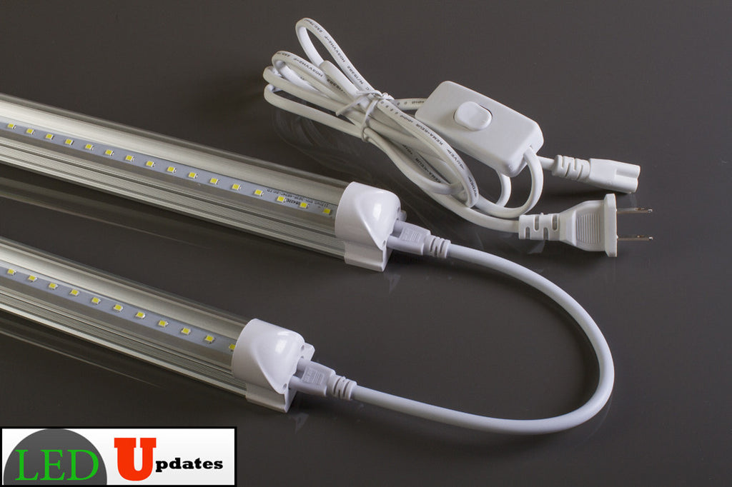 2pcs 4ft 20watt Clear integrated LED Tube with Link cable and power cable package