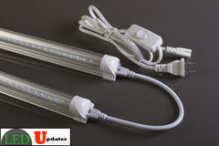 2pcs 4ft 20watt Clear integrated LED Tube with Link cable and power cable package - LED Updates