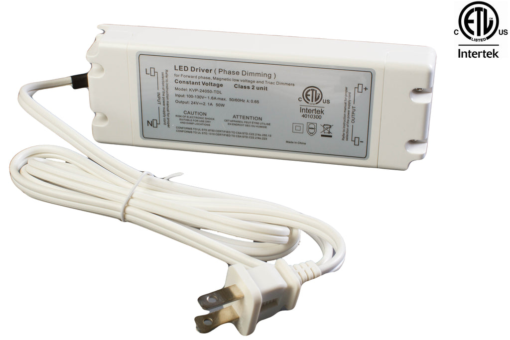 ETL Listed 24V 2.1A 50w Class 2 Triac Dimmable Power Supply Driver