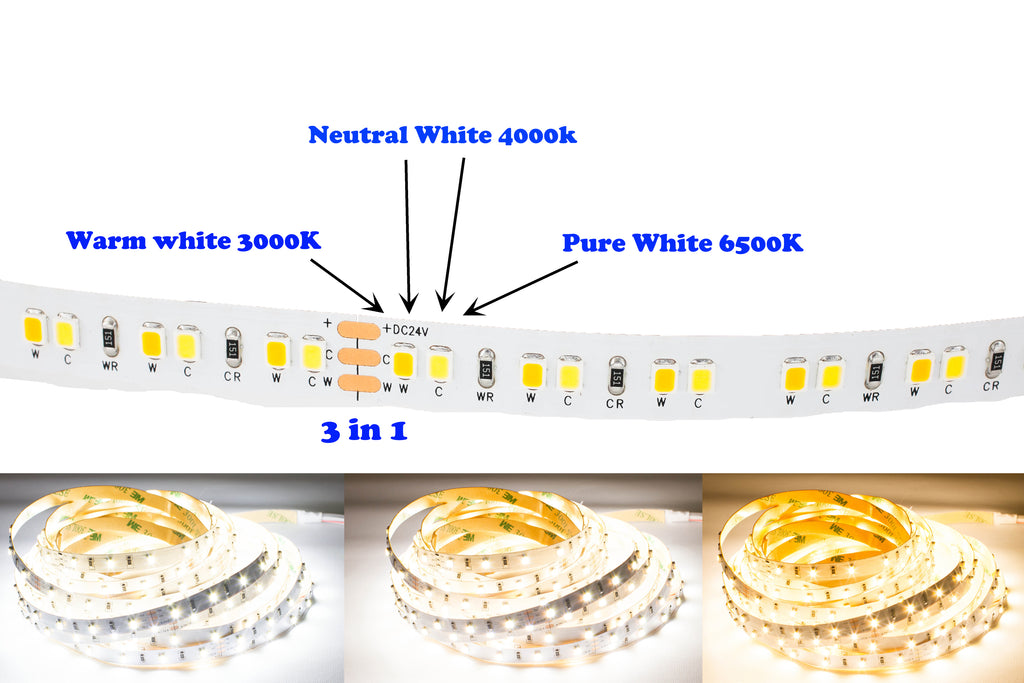 24v 3528 CCT Series adjustable 3000K to 6500K color LED strip light + Aluminum Channel