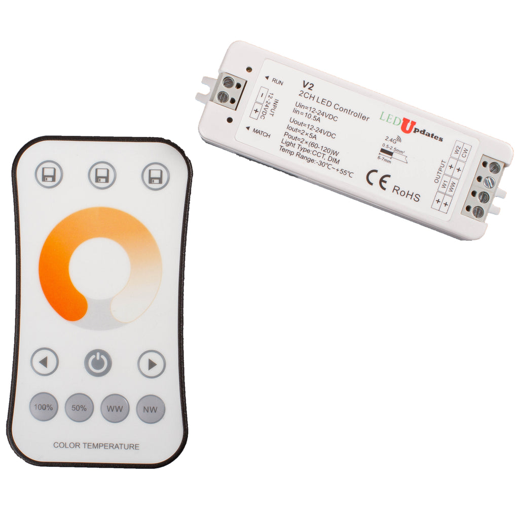 Dual color Temperature Warm white to Cool White 2700K to 6500K Wireless CCT LED Strip Controller for 2 in 1 Dual color LED Strip Light