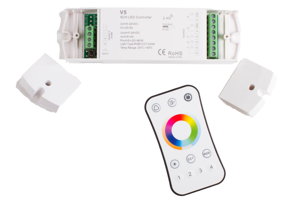 RGB + WW+ CW CCT Controller with Wireless Remote for 5 in 1 LED Strip Light