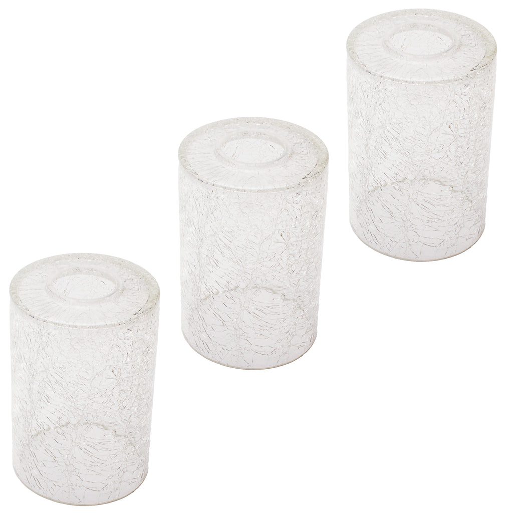 3 Pack crack finish cylinder glass shade for light fixture