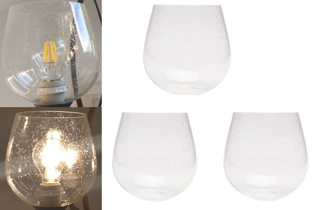 3 Pack seeded glass globe shade for light fixture