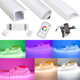 24v RGB Color + White + White Warm Series LED strip light 5 in 1 + Aluminum Channel