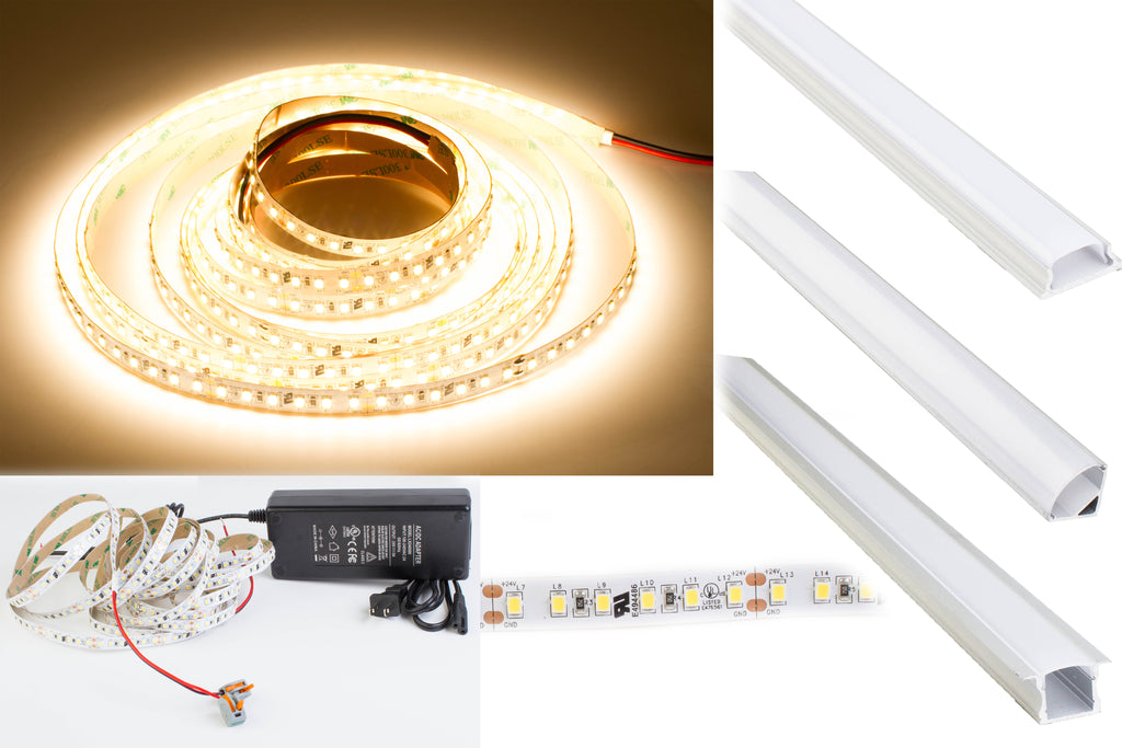 24v Premium Super Bright Series CRI 95 3000k Warm white color LED strip light + Aluminum Channel
