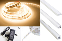 24v 2216 Series CRI 90 3000k Warm white color LED strip light + Aluminum Channel