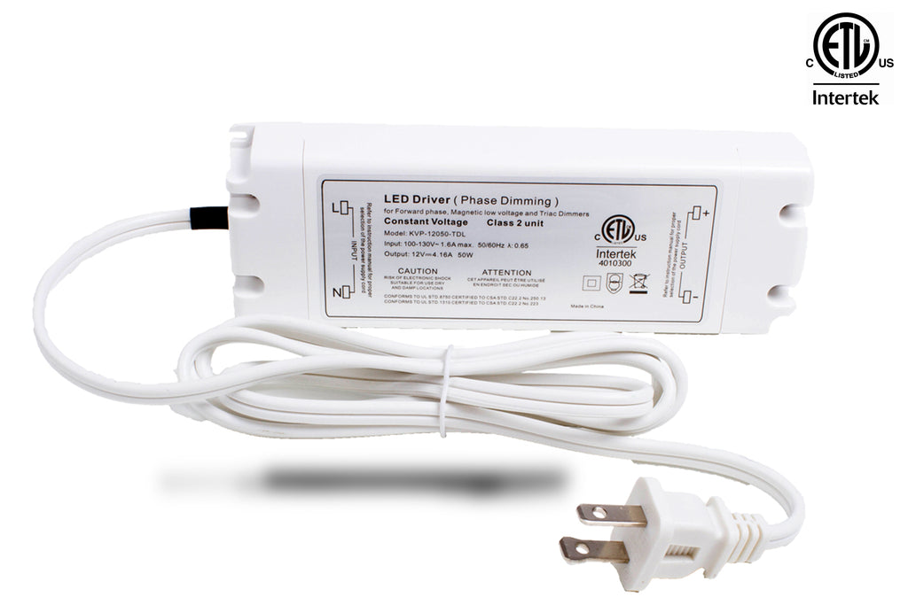 ETL Listed 12V 4.16A 50w Class 2 Triac Dimmable Power Supply