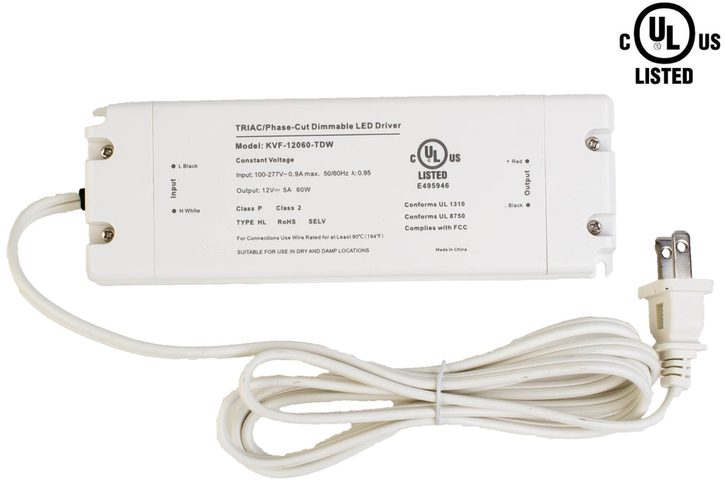 UL Listed 12V 5A 60w Class 2 Triac Dimmable Power Supply