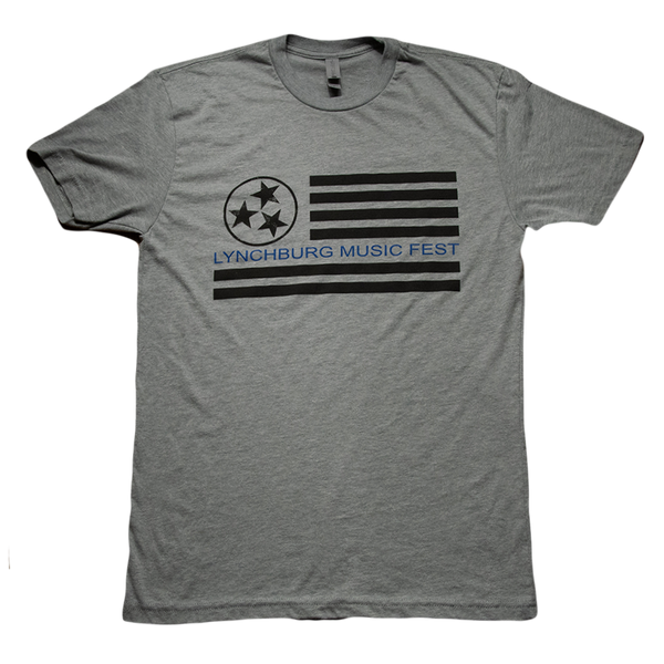 Grey + Blue Flag Tee