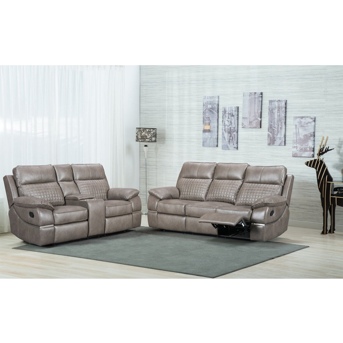 Sala Gris Reclinable Ceramic 2 Piezas