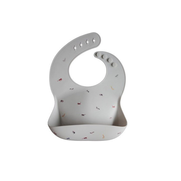 Mushie Silicone Bib - Grey Safari