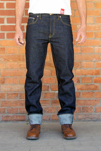 SALE MEN JEANS LOOSE FIT STRAIGHT - 14.75 OZ. RAW SELVAGE DENIM W211 LTD.
