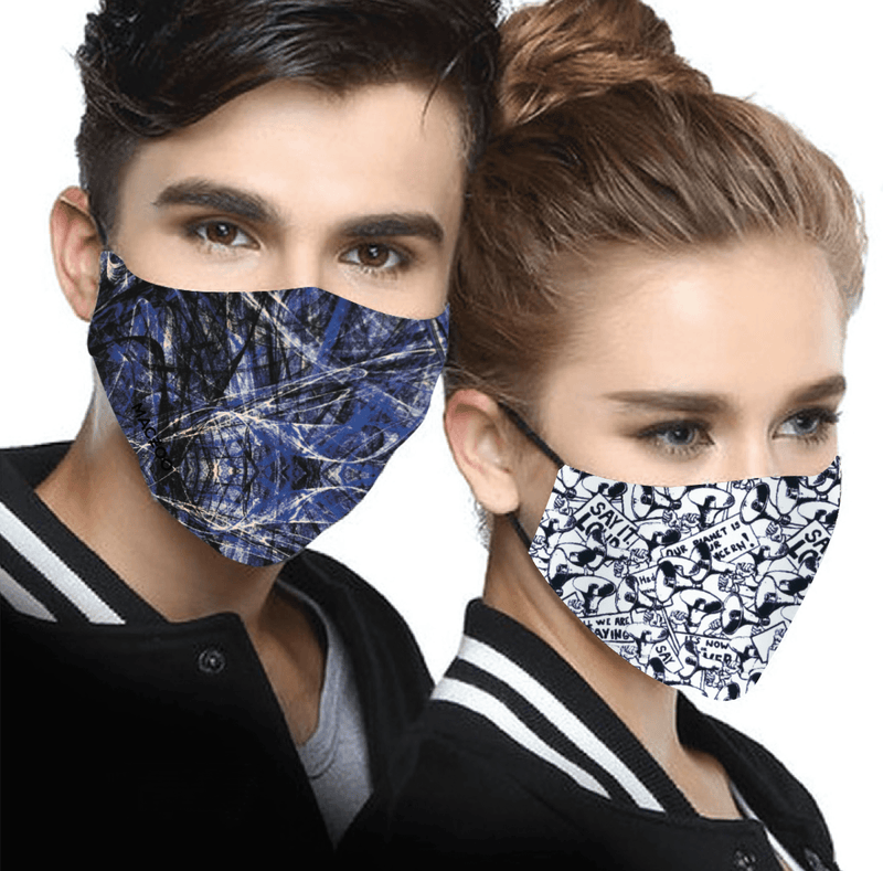 2 Reversible Face Masks Scribble Riot