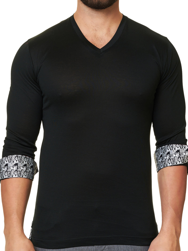 V Neck L Solid Black