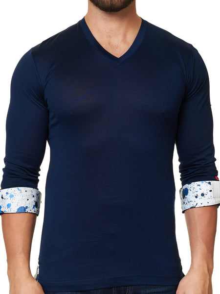 V Neck L Solid Navy