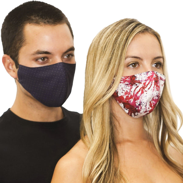 2 Reversible Face Masks Abstract Red