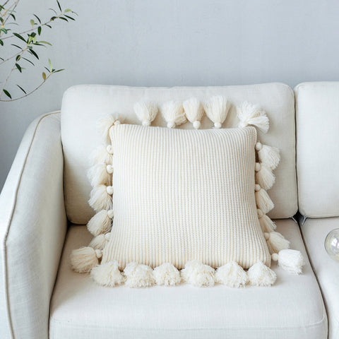 Nordic Simple Solid Color Wool Ball Pillow