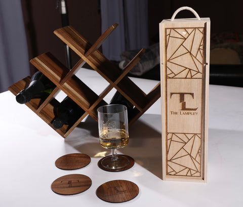Wood Engraved Wine Box