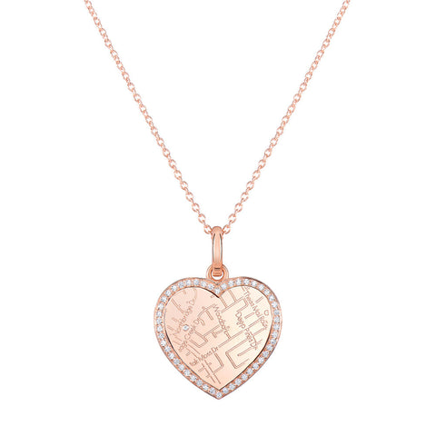 Rose Gold Heart Map Pendant with Diamond Border