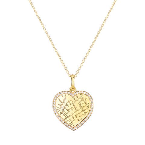 Yellow Gold Heart Map Pendant with Diamond Border