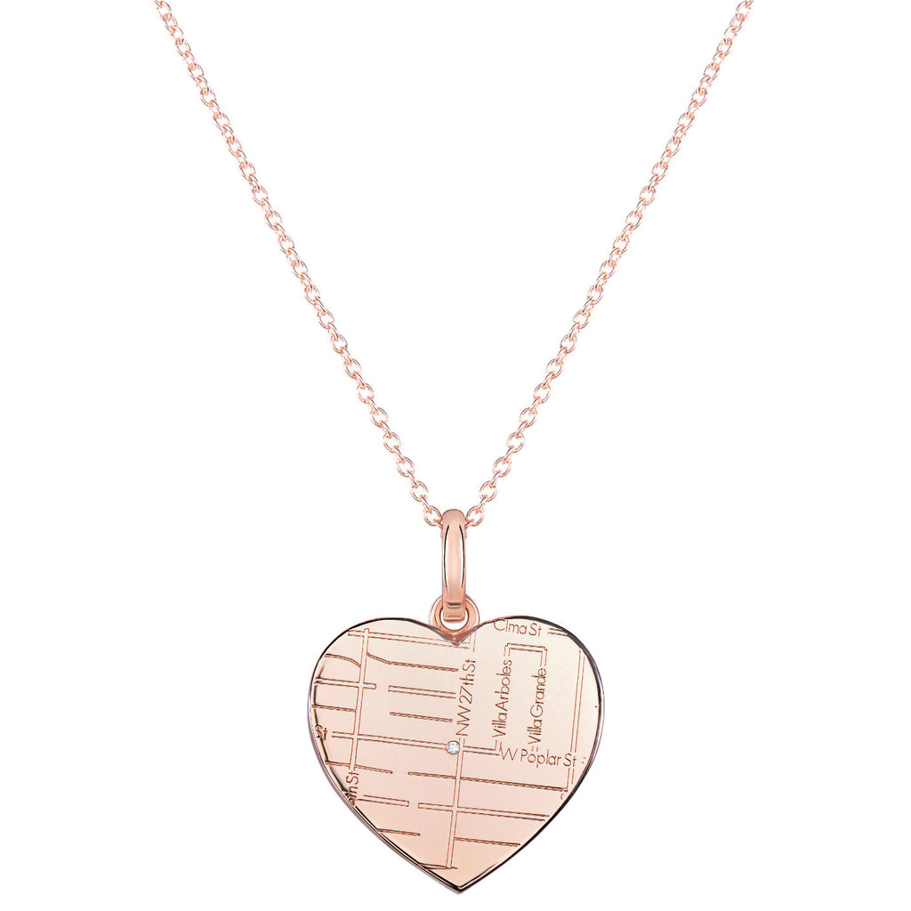 Rose Gold Heart Map Pendant with a Diamond