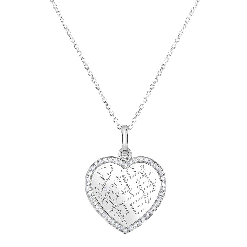 White Gold Map Necklace with Diamond Border