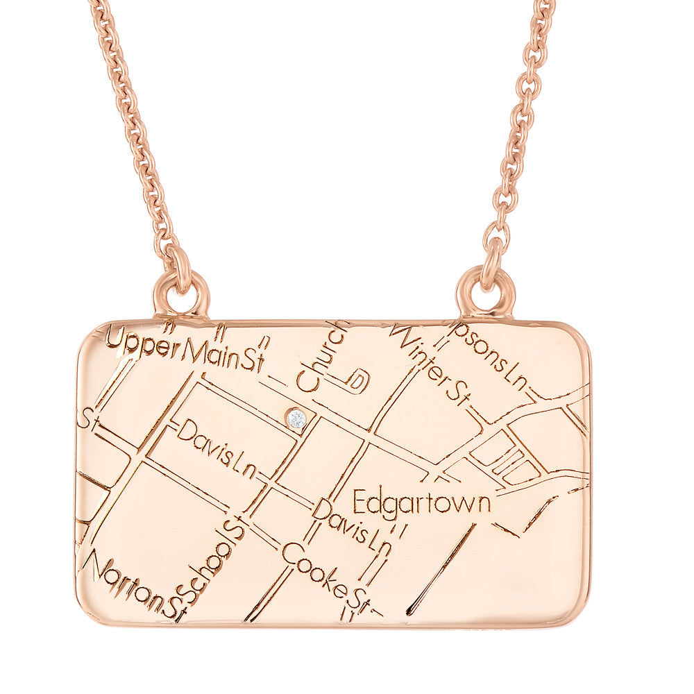 Rose Gold Map Necklace with a Diamond