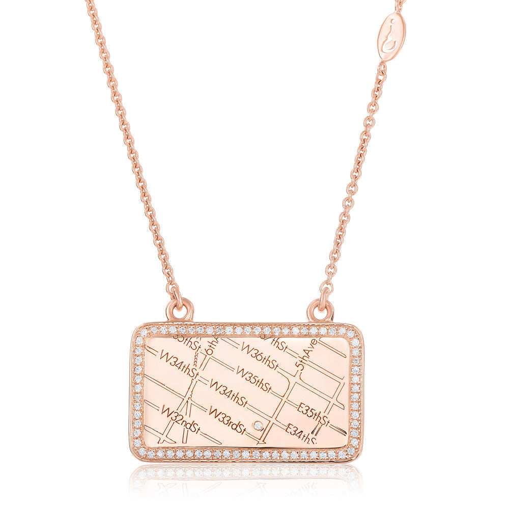 Rose Gold Map Necklace with Diamond Border