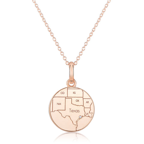 Rose Gold Round Map Pendant with a Diamond