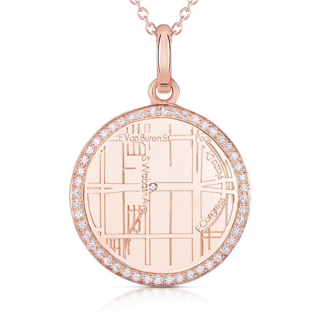 Rose Gold Round Map Pendant with Diamond Border