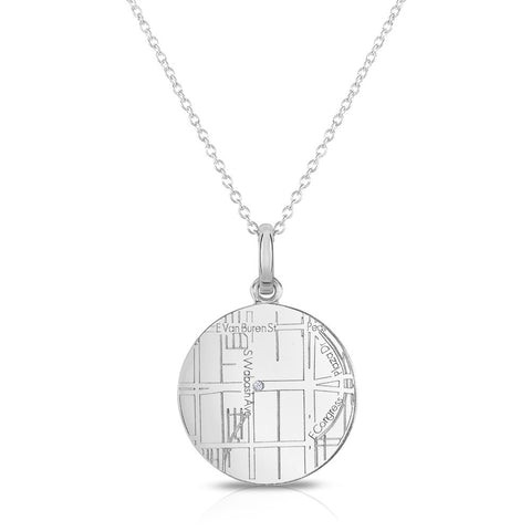 Sterling Silver Round Pendant with a Diamond