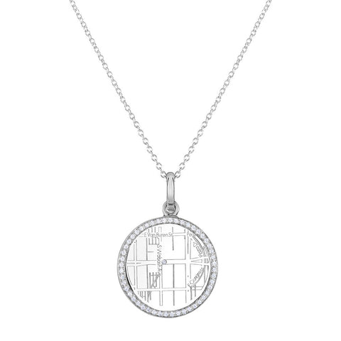 White Gold Round Map Pendant with Diamond Border
