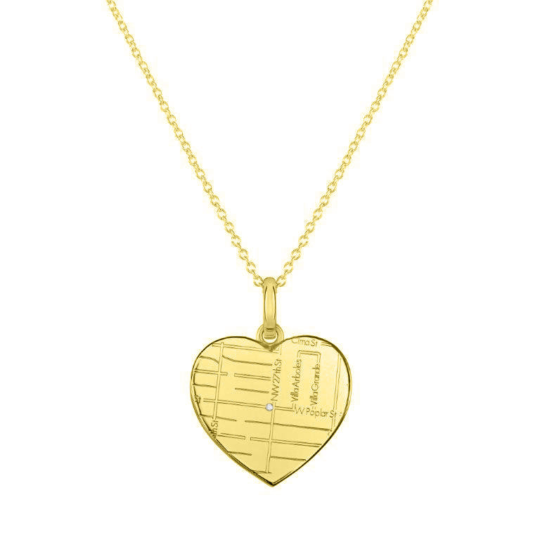 Yellow Gold Heart Map Pendant