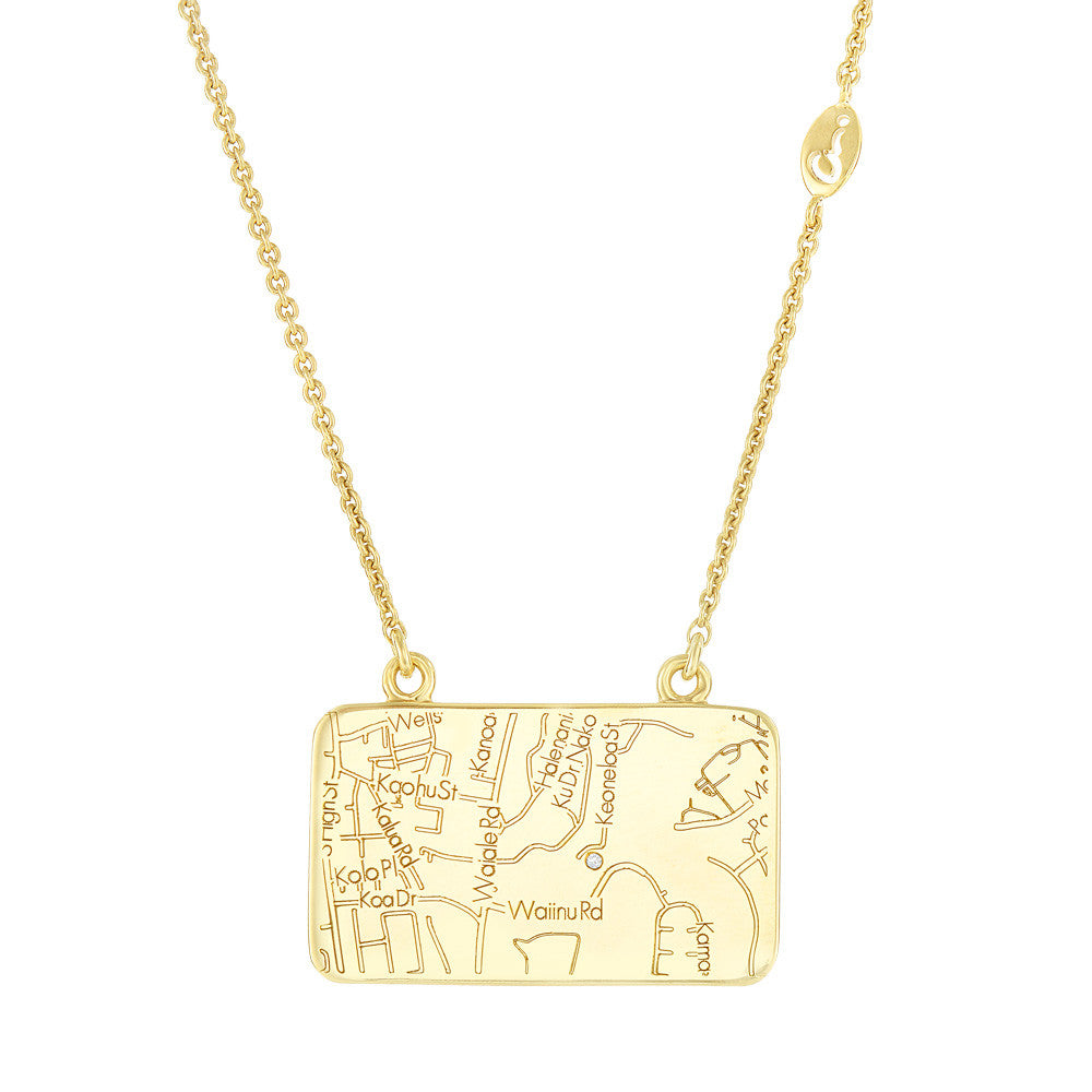 Yellow Gold Map Necklace with a Diamond