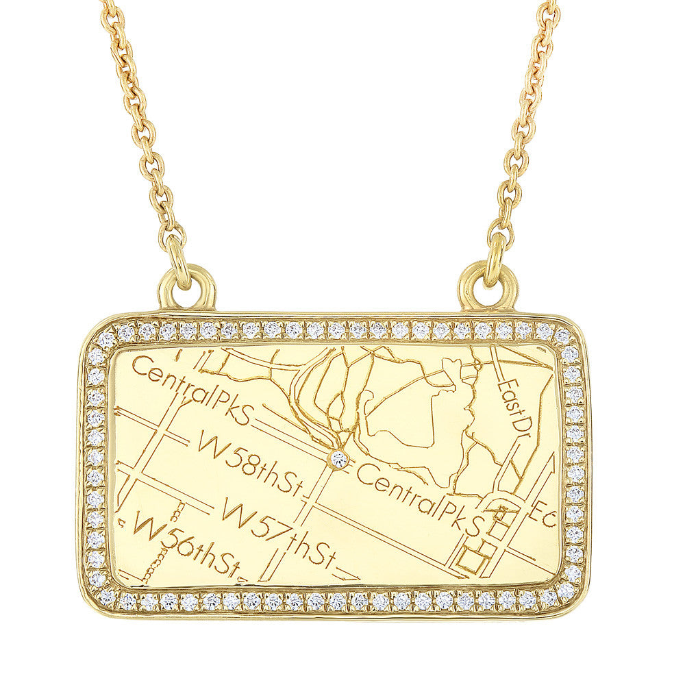 Yellow Gold Map Necklace with Diamond Border