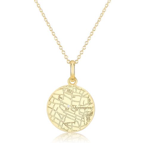 Yellow Gold Round Map Pendant with a Diamond