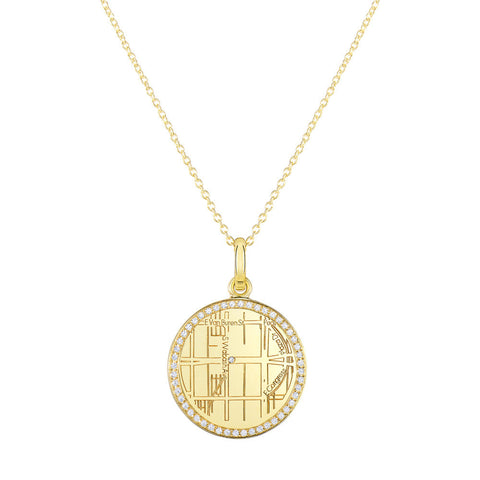 Yellow Gold Round Map Pendant with Diamond Border