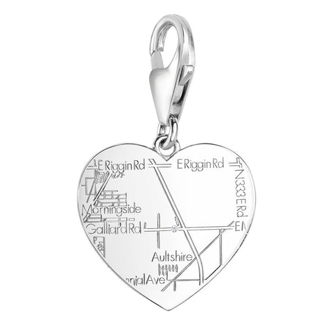 Sterling Silver Heart Charm with a Diamond