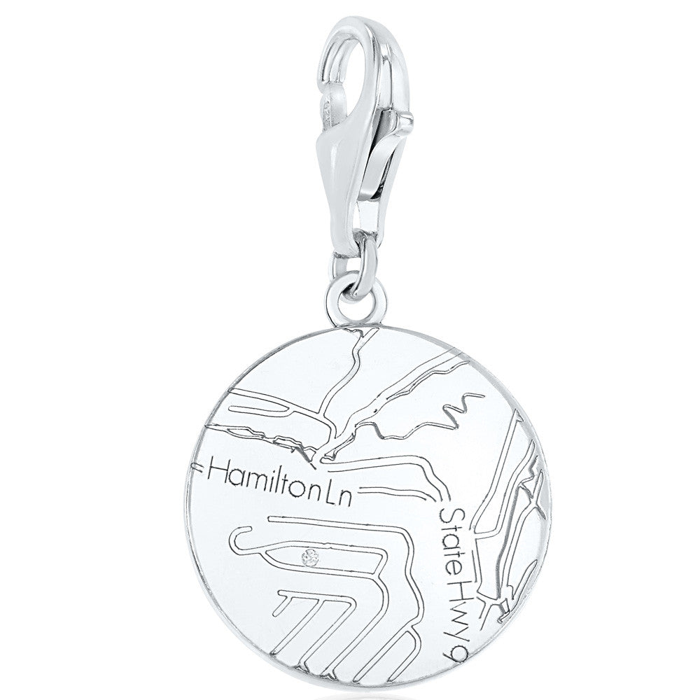 Sterling Silver Round Map Charm with a Diamond
