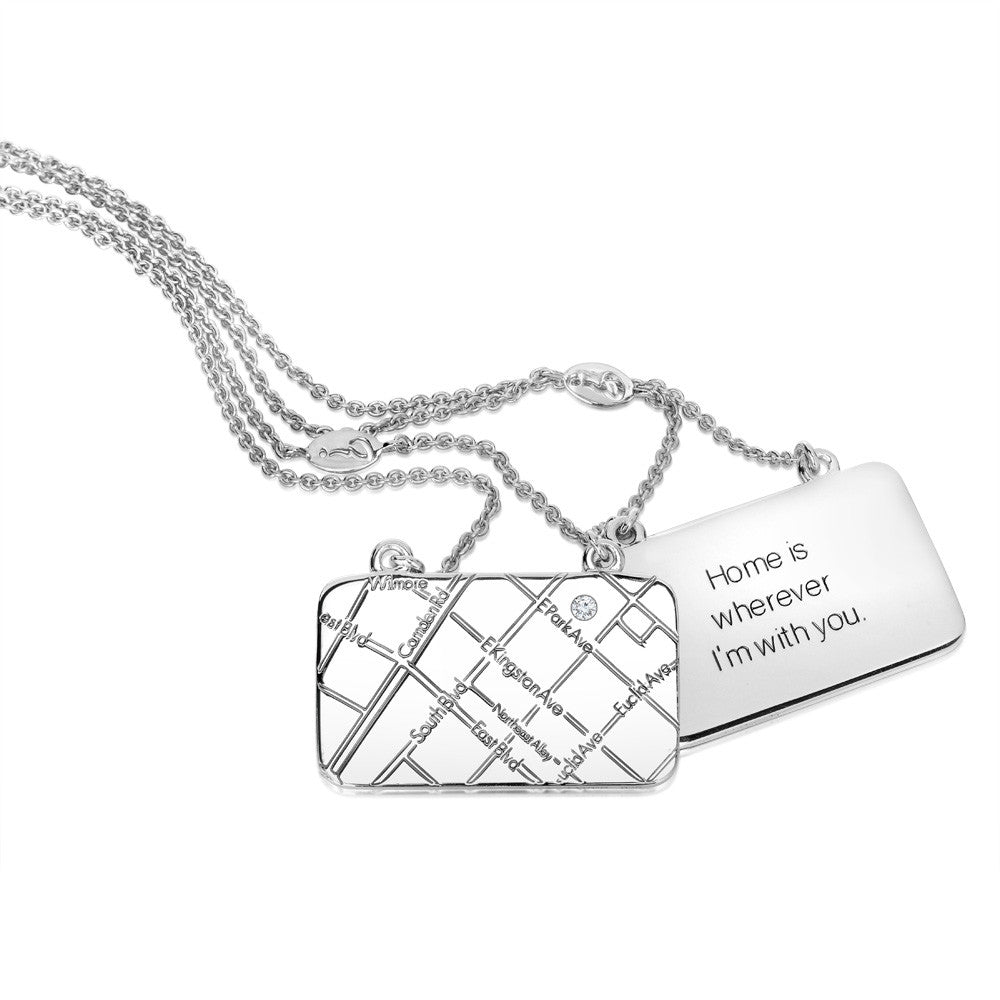 Sterling Silver Map Necklace with a Diamond