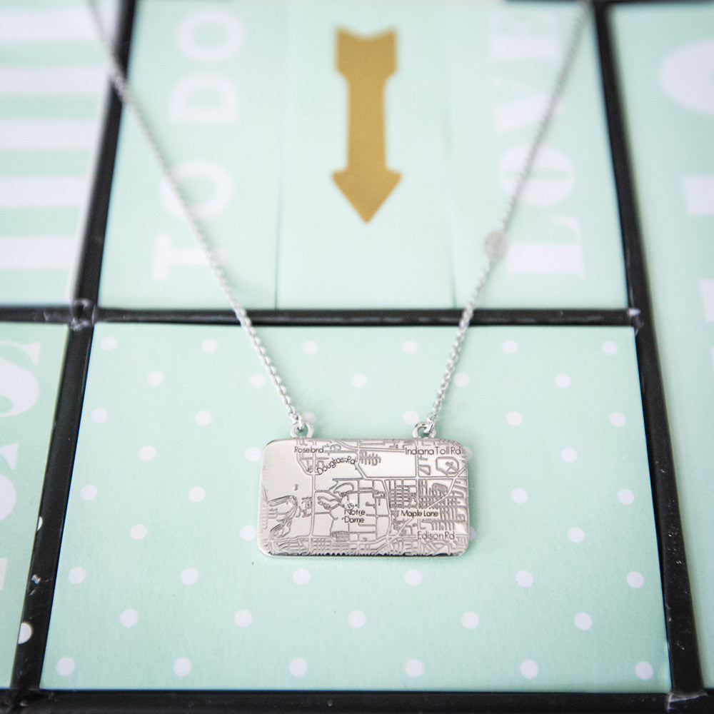 White Gold Map Necklace with a Diamond