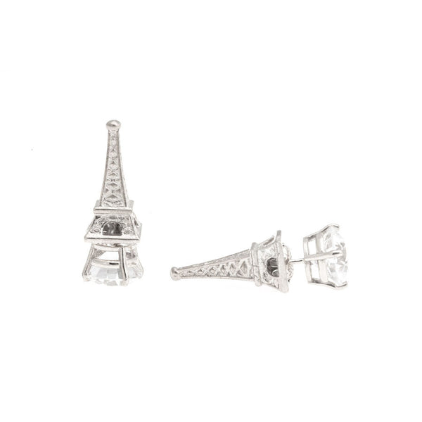 Eiffel Tower Earrings - Silver