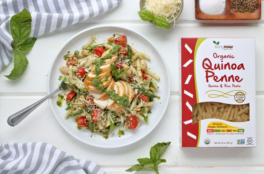 Healthy Gluten-Free Chicken Pesto Pasta