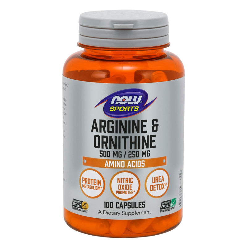Now Sports Arginine & Ornithine, 500/250 mg - 100 Capsules