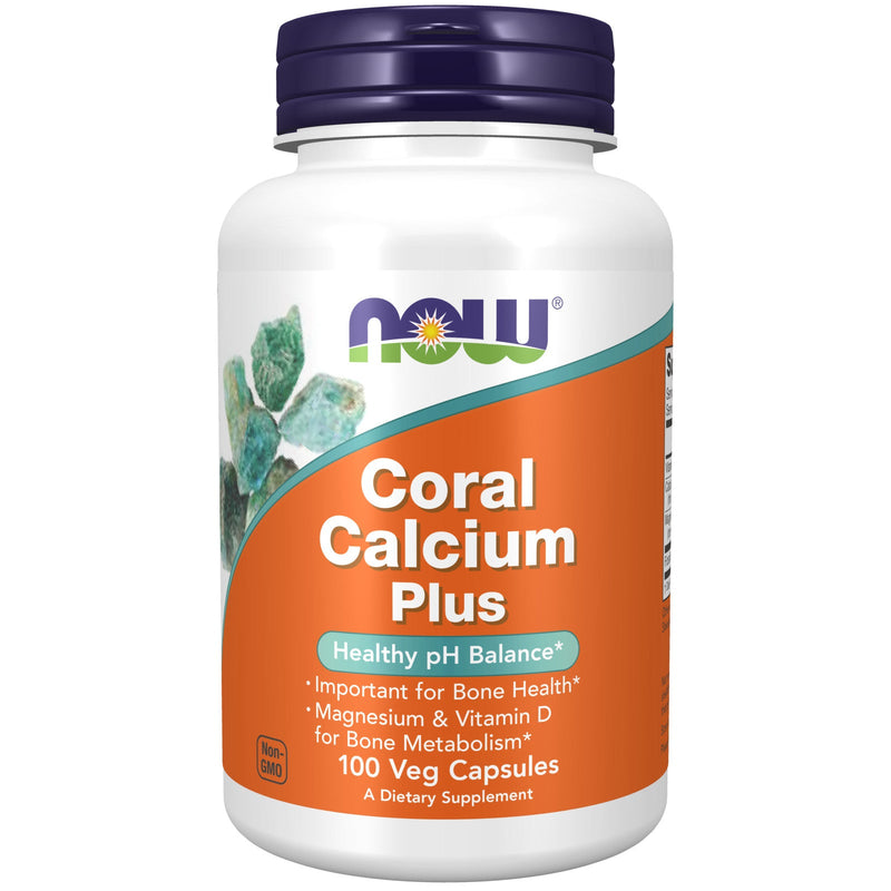 Now Coral Calcium Plus -Healthy PH Balance - 100 Vegetarian Capsules