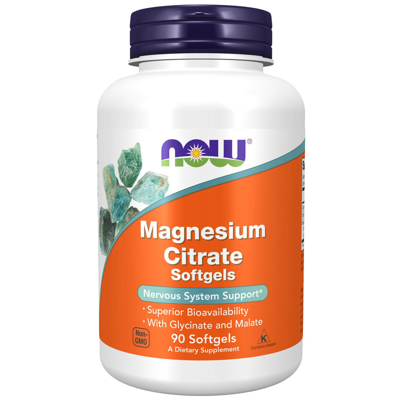 NOW Supplements, Magnesium Citrate, With Glycinate & Malate, Nervous System Support*, 90 Softgels