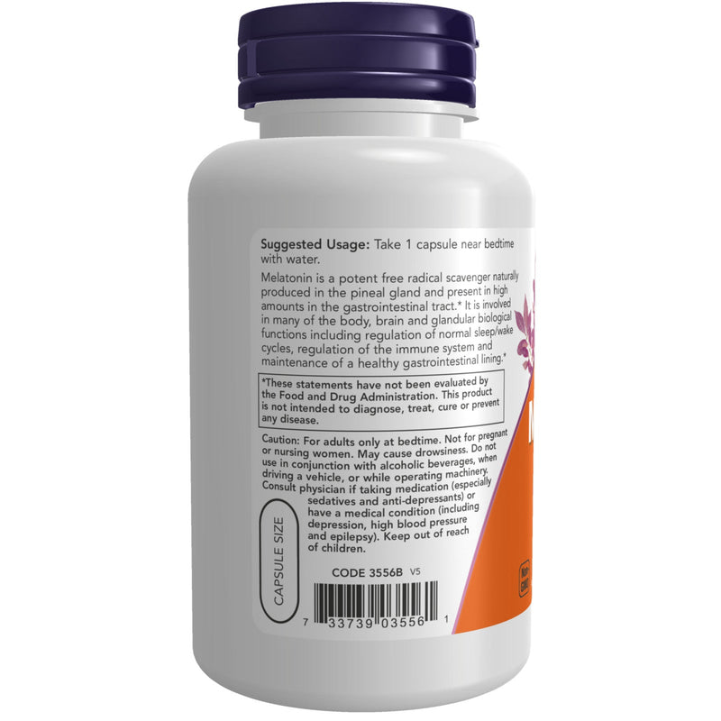 Now Melatonin 5 mg - 180 Vegetable Capsules