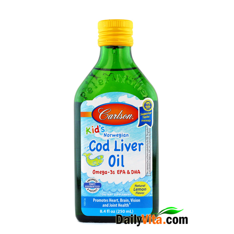 Carlson for Kids Norwegian Cod Liver Oil 250 ml - Lightly Lemon Taste!